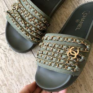 ad2260826d8 Chanel Chain CC Logo Charm Slides Mules 36. NWT.  699  0. Size  6 · CHANEL